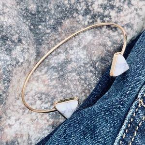 NEW Round Marble Gem Gold Cuff Bracelet